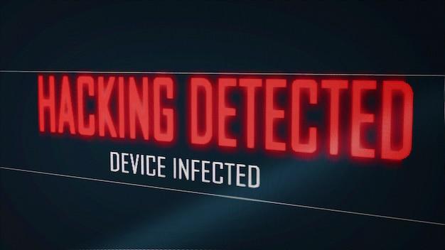 コンピューター画面のピクセルフリッカーエフェクトでウイルスに感染したデバイスを検出したハッキング。青い数字のソフトウェアグローバルネットワーク。サイバーセキュリティハッカーの割り込みの概念。ビッグデータテクノロジー。 3dイラスト