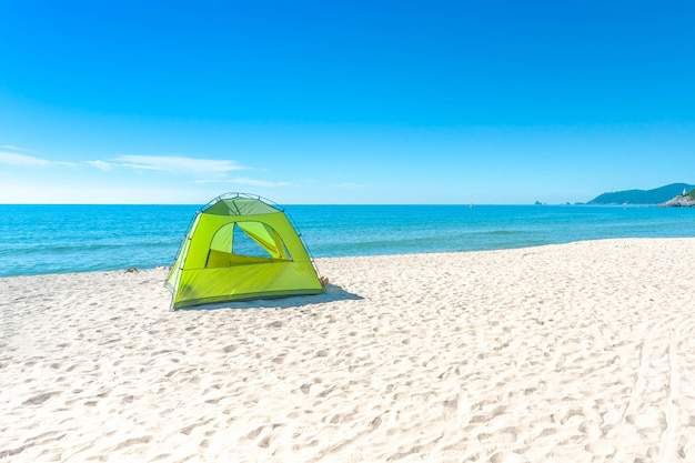 Haeundae beach and camping on sun daylight relaxation landscape in summer at busan in korea.
