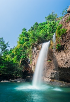 Haew su thad waterfall with tunnel at khao yai national park, thailand