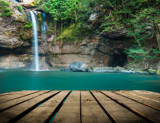 Haew su thad waterfall with tunnel at khao yai national park, thailand