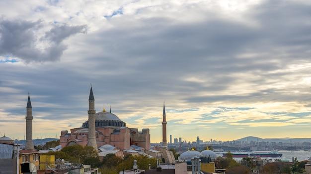 Hagia sofia with view of istanbul city skyline in turkey