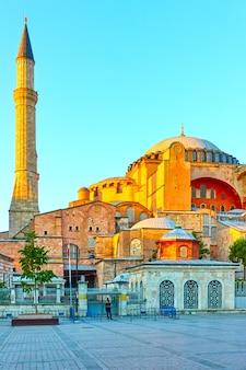 The hagia sophia (ayasofya) in istanbul in the evening. turkey