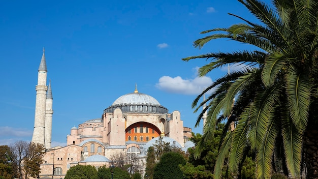 Hagia sophia grand mosque with gardens full of lush greenery in front of it in istanbul, turkey