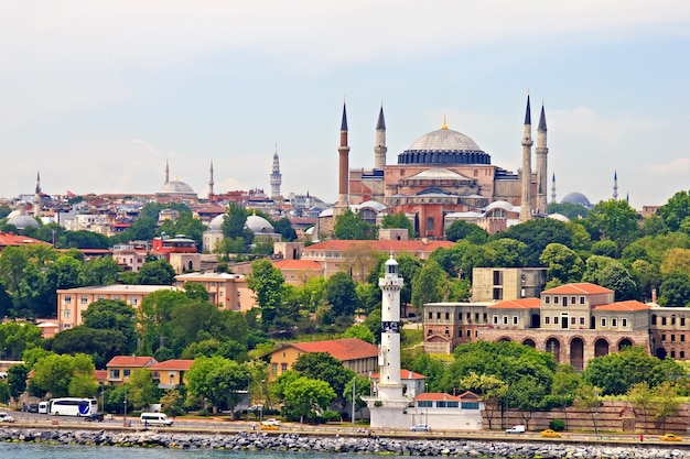 Hagia sophia and istanbul, view from bosporus strait