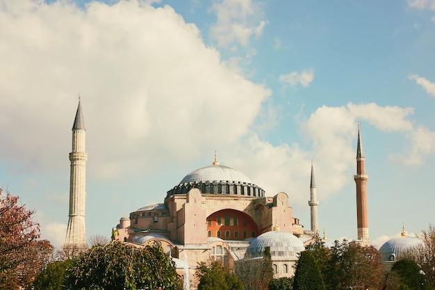 Hagia sophia mosque against blue sky in autumn in istanbul, turkey
