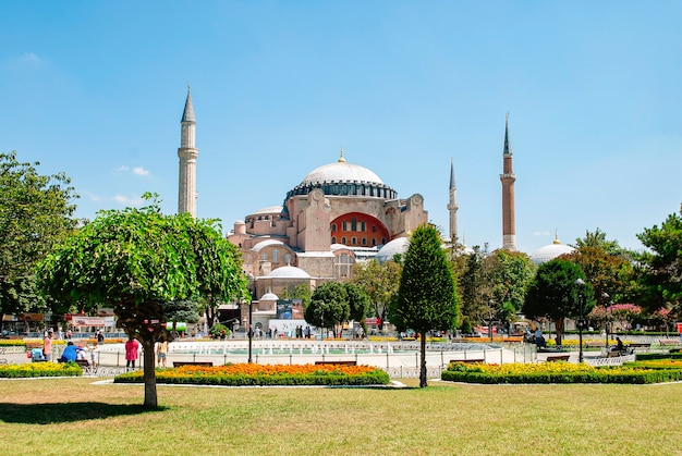 Hagia sophia mosque in the distance at the sultanahmet square.