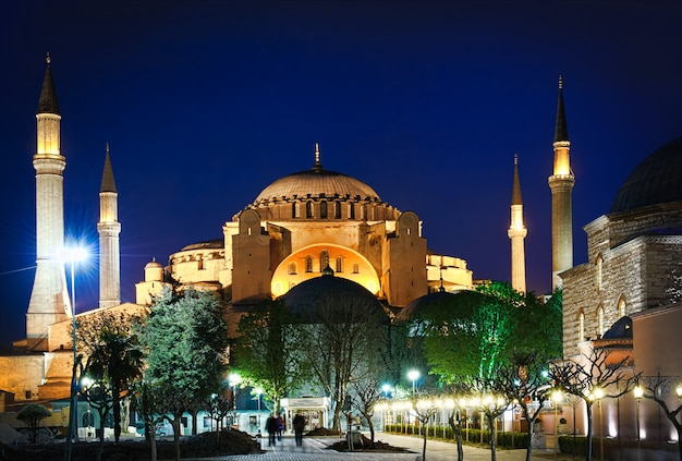 Hagia sophia at night in istanbul, turkey