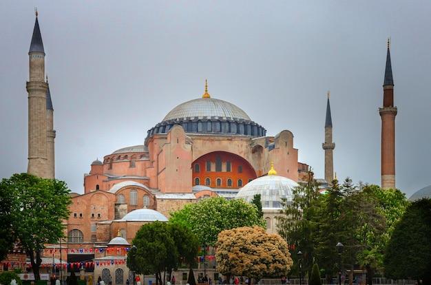 Hagia sophia on rainy day in istanbul
