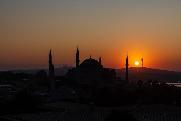Hagia sophia sunset silhouette, istanbul skyline, turkey.