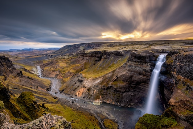Haifoss mountains with waterfall