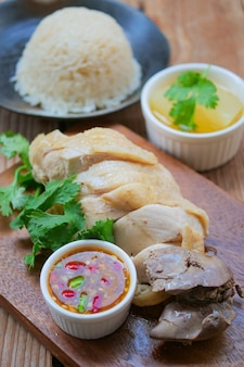 Hainanese chicken rice with sauce