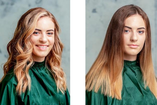 스트레이트하기 전과 후의 머리카락.
