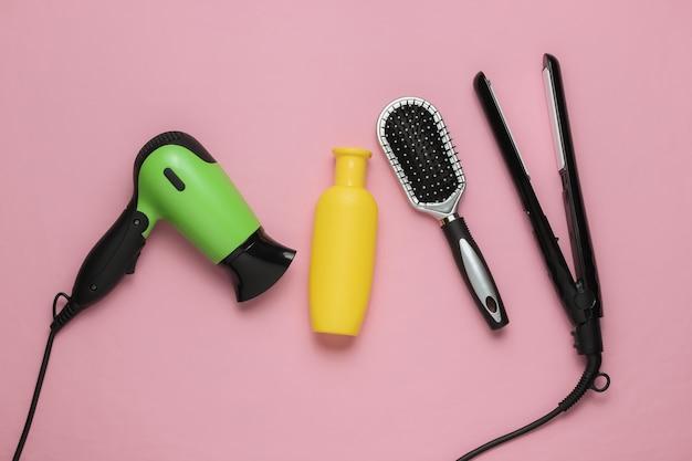 Hair care beauty studio shot hair dryer iron bottle shampoo comb