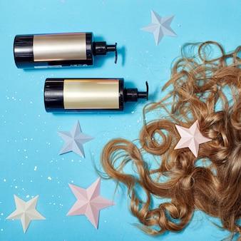 Hair care, long beautiful hair shampoo, cosmetic