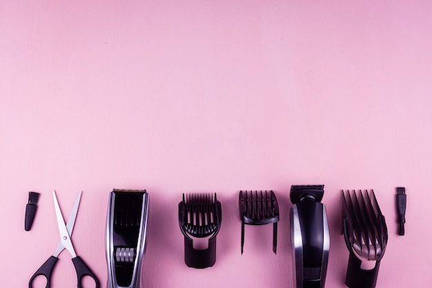 Hair clipper pink background.