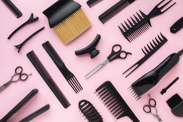 Hair clips and combs flat lay