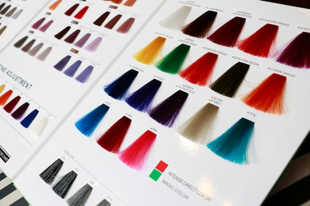 A hair color chart display some abnormal example color such as blue, pink, green, orange and violet ect.