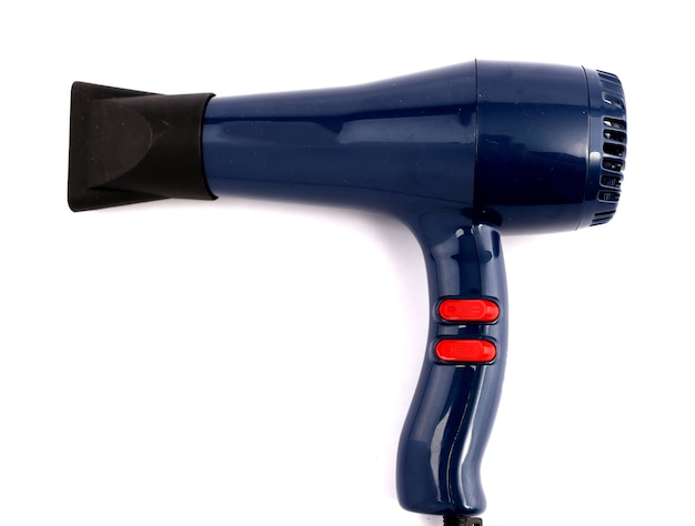 Hair dryer with white backdrop.