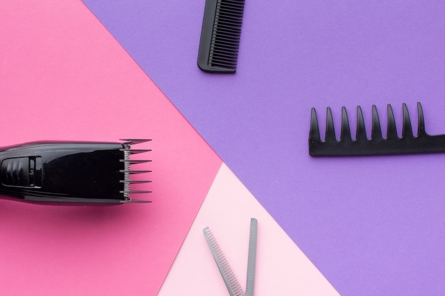 Hair equipment composition flat lay
