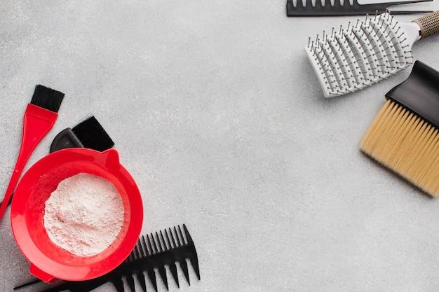 Hair equipment and powder flat lay