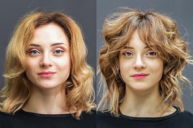 완벽한 컬을위한 치료 전후의 여성의 머리카락.