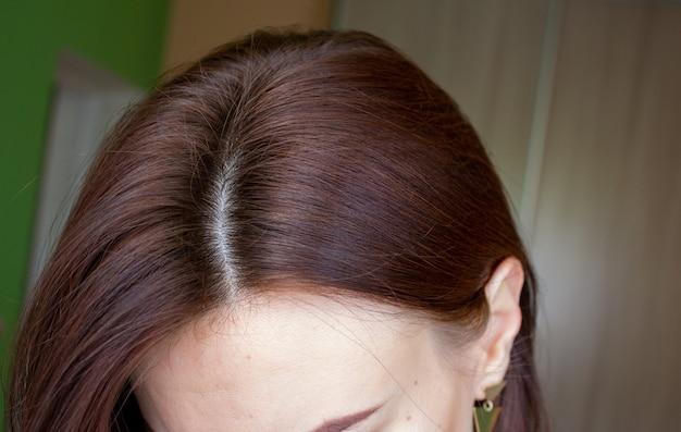 여자의 머리 클로즈업에 머리입니다. 헤어 브라운 컬러.