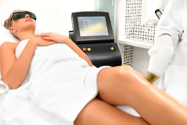 Hair removal machine in a beauty salon