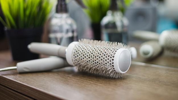 Hair salon tools on table