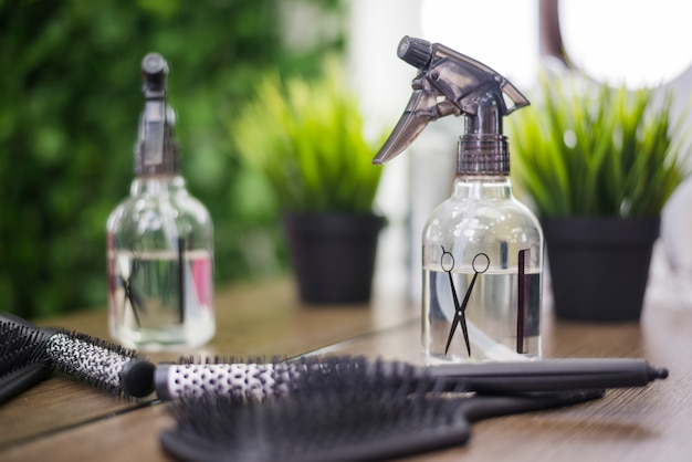 Hair salon tools with plant
