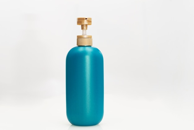 Hair shampoo conditioner bottle on white