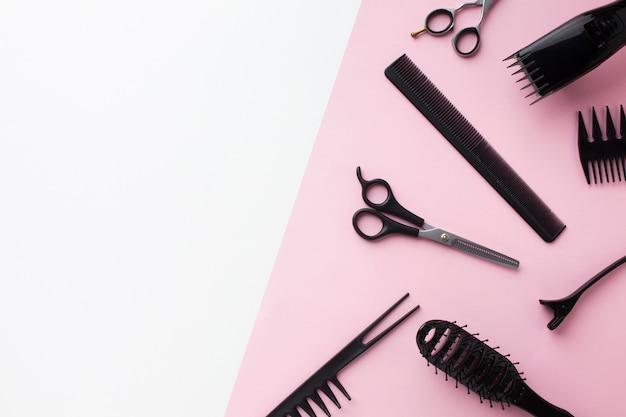 Hair supplies in flat lay