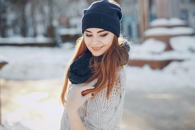 머리 겨울 걷는 아름다운 눈