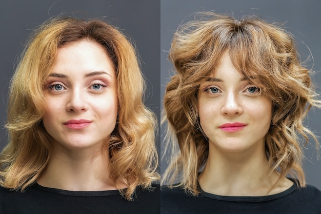 Hair of woman before and after treatment for perfect curls.