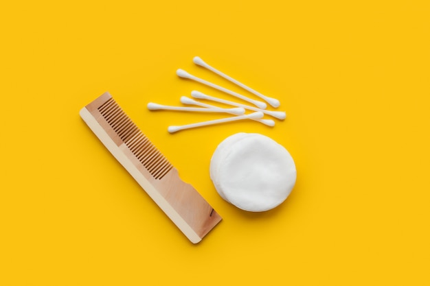 Hairbrush, cotton swabs and cotton disks