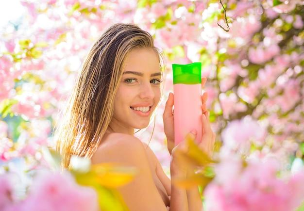 Haircare hair balsam shampoo cosmetic for hair woman with cosmetic for hair beautiful woman with