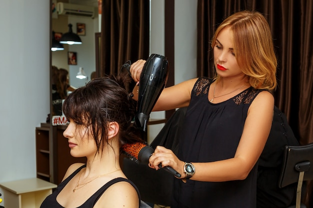 Hairdresser and client in the salon, beauty salon and hair care.