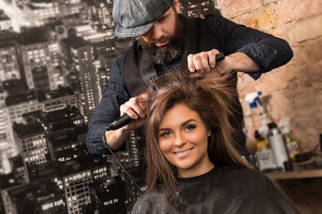 Hairdresser during work