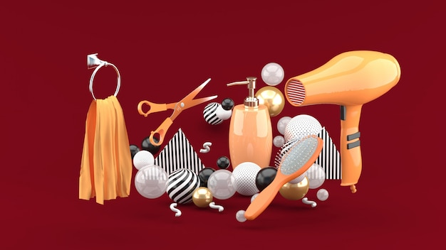 Hairdressing amidst colorful balls on red. 3d rendering.