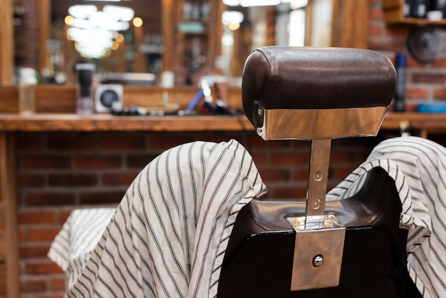 Hairdressing chair in vintage barber shop