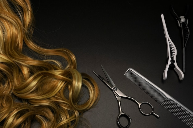 Hairdressing set on a dark background