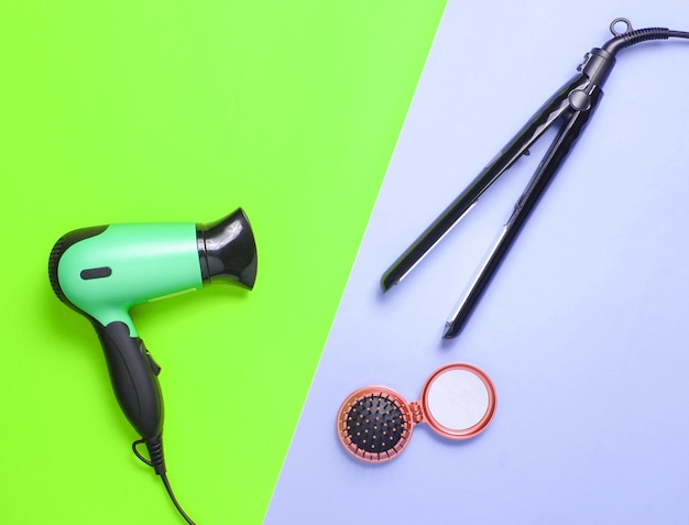Hairdryer, curling iron, hairbrush mirror isolated
