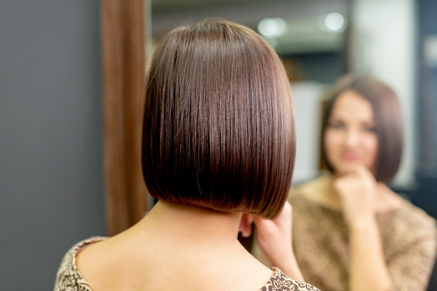 Hairstyle of woman in salon
