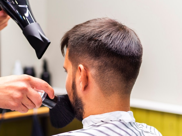 Hairstylist with dryer and shaving brush