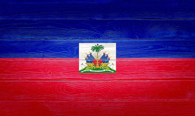 Haiti flag painted on wooden planks