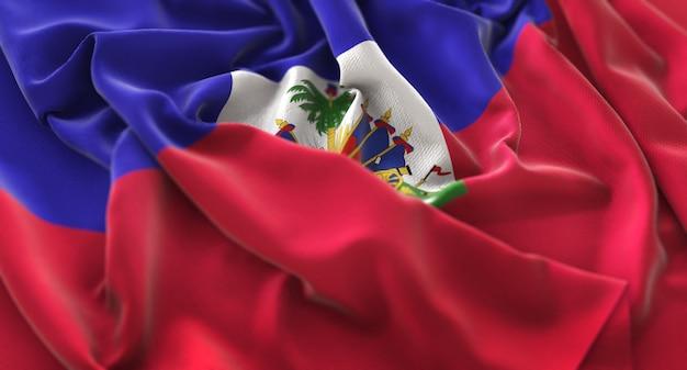 Haiti flag ruffled beautifully waving macro close-up shot