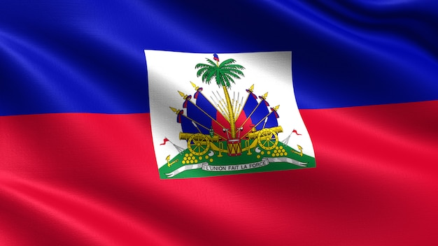 Haiti flag, with waving fabric texture