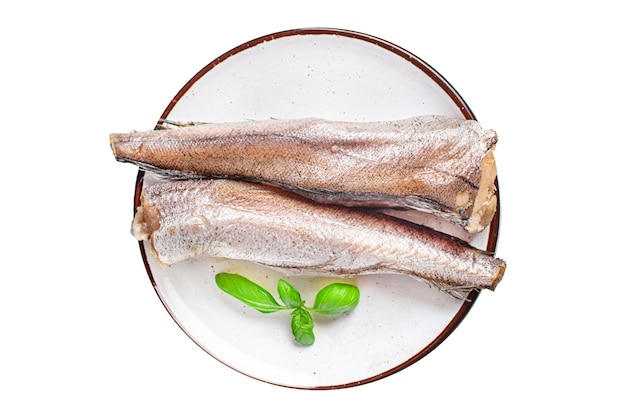 Hake fish raw white fillet seafood fresh ready to eat meal snack on the table copy space food