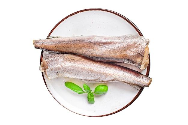 メルルーサ生の白い切り身シーフード新鮮な食事の準備ができてテーブルの上の食事スナックコピースペース食品