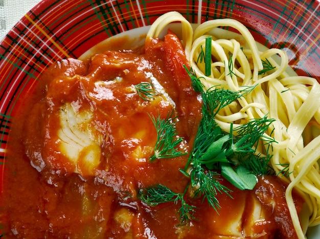 Halaszle  paprika-based river fish soup . dish of hungarian cuisine