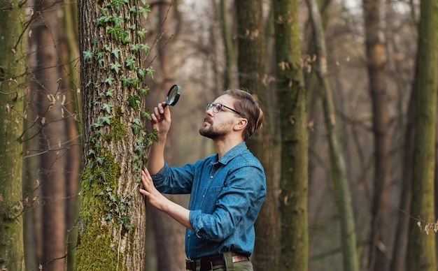Half-body pic of focused botanist taking close look at ivy on tree standing in bare deciduous forest